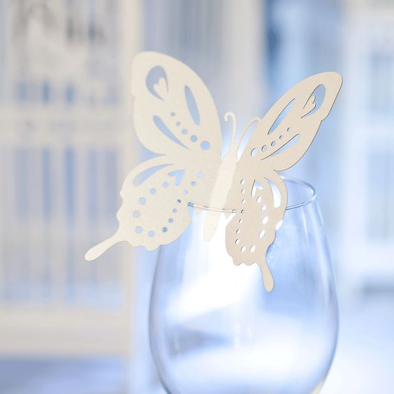 wedding butterfly wine glass decorations