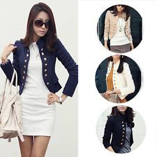 Women Ladies Button Slim Short OL Formal Casual Jacket Cardigan Coat Clothes: