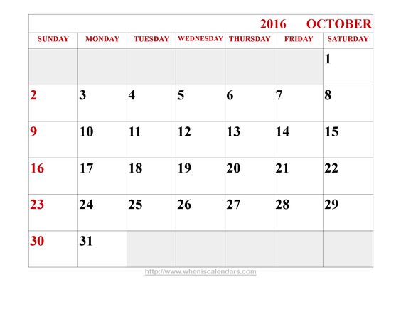 October, October calendar and Calendar on Pinterest