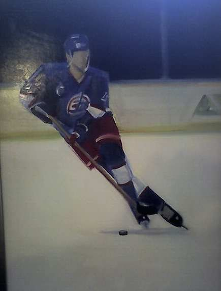 Jet #4, Defenseman Frederick Olausson, 1993, Kenneth Campbell, oil on composition board, 24 x 18 in.,