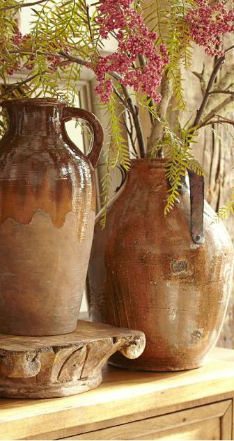 Rustic Pottery.. Every Tuscan Interior needs the texture, color and form found in rustic pottery. .. See our large pottery selection @ www.accentsofsalado.com  ♥Accents of Salado♥ONLINE SHOPPING