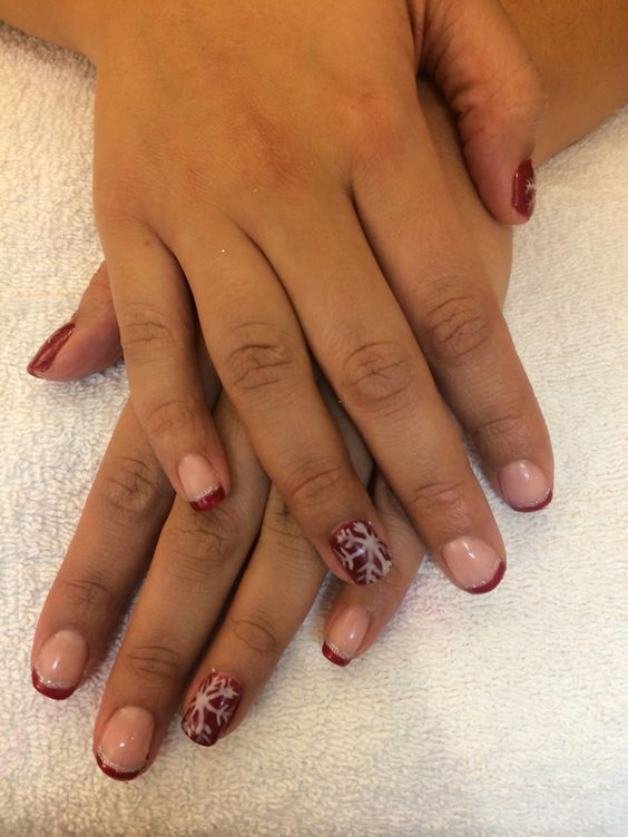 Snowflake and French gel polish