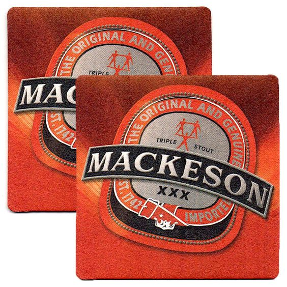 Mackeson Beer Coasters Stout Exclusive From Trinidad & Tobago Set of 2 (Two)