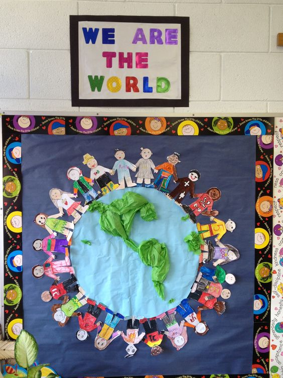 """""""Jesus loves the children of the world"""" or """"Go & tell the world about Jesus"""" bulletin board."""