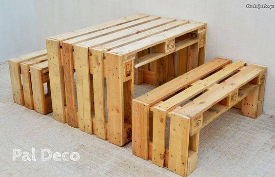 mesa jardim custojusto : mesa jardim custojusto:mesa e bancos em paletes de madeira – à venda – Móveis & Decoração