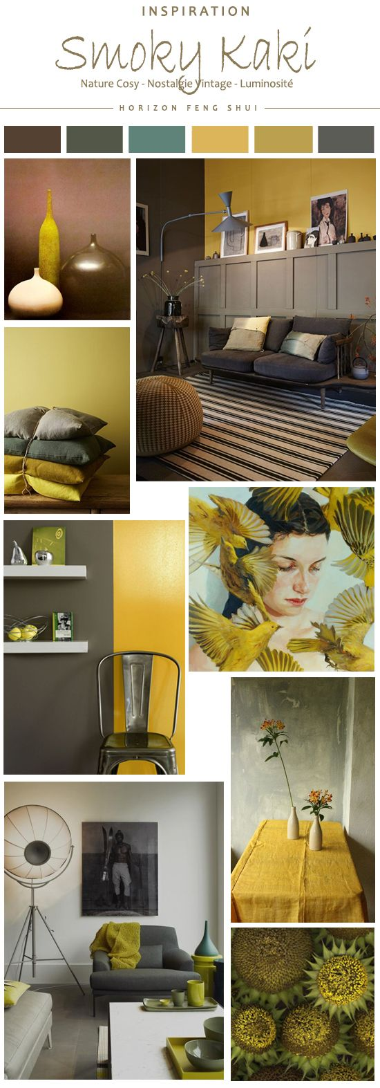 Tendance couleur smoky kaki jaune moutarde ocre gris for Salon kaki et blanc