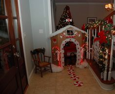gingerbread house entrance for my boys on Christmas morning
