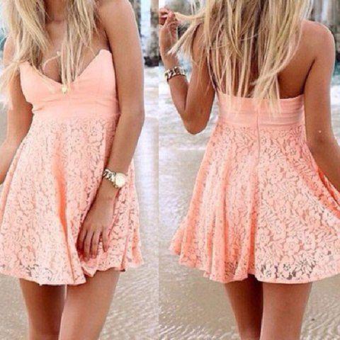 Sexy Strapless Sleeveless Lace Flower Pattern Women's Dress
