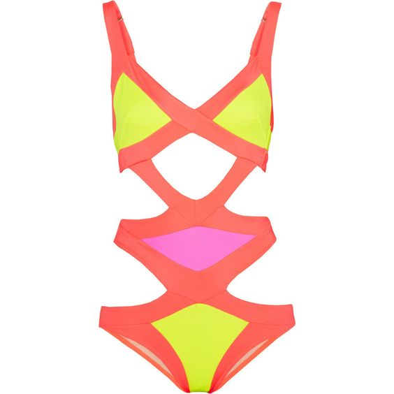 Agent Provocateur Mazzy cutout swimsuit ($315) ❤ liked on Polyvore featuring swimwear, one-piece swimsuits, swimsuits, bikini, agent provocateur, bathing suits, yellow, cut-out bikinis, cut-out bathing suits and neon one piece swimsuit