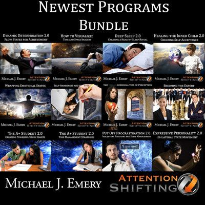This bundle includes the latest Attention Shifting NLP and Hypnosis audio programs by Michael J. Emery. Save $20 by downloading the following 13 audio programs in a bundle. Download over 6 hours of the most effective and empowering personal development audio programs.