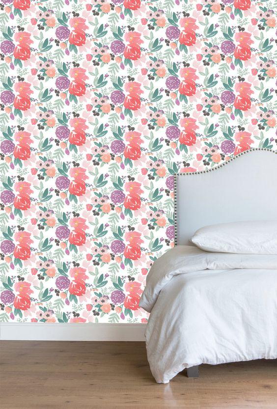 Blooms Grande in White Wallpaper