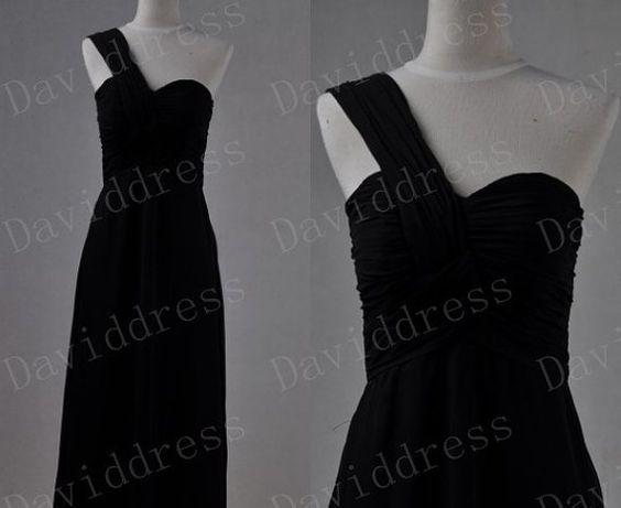 One Shoulder Graceful Long A line Chiffon Black by daviddress, $92.00