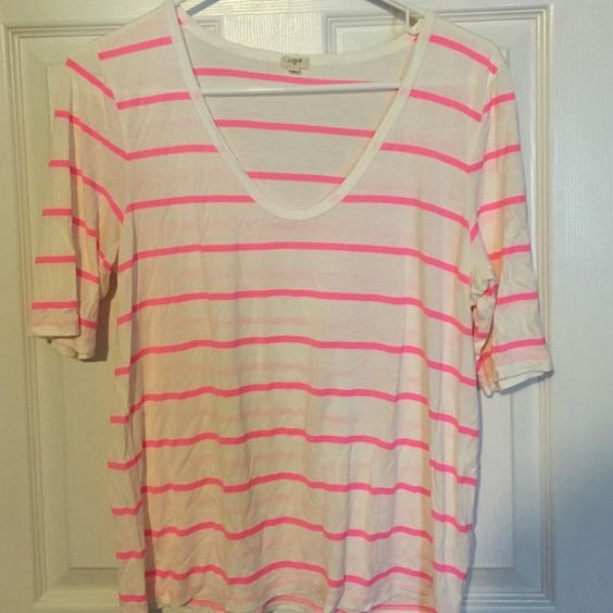 "J.Crew Factory tshirt Excellent condition white and bright pink stripe tshirt. 22"" length and bust is 19"" J.Crew Factory Tops Tees - Short Sleeve"