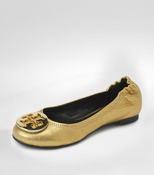 distressed Leather Reva Ballet Flat in Gold/Gold by Tory Burch