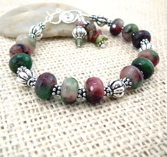 Beaded Bracelet  Quartz Bracelet  Gemstone by TouchOfSilver