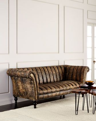 safari channel tufted leather sofa by old hickory tannery at horchow furniture pinterest channel tufted furniture