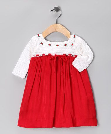 Take a look at this White & Red Crochet Dress - Infant by Les Petits Soleils by Fantaisie Kids on #zulily today!