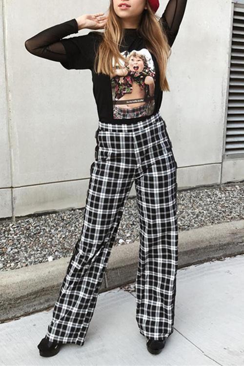 Tartan Pattern High Waist Slacks Pants – Lupsona