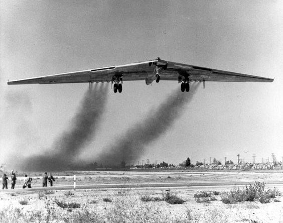 YB-49 Flying wing, a heavy bomber prototype, takes to the air for the first time in 1947.