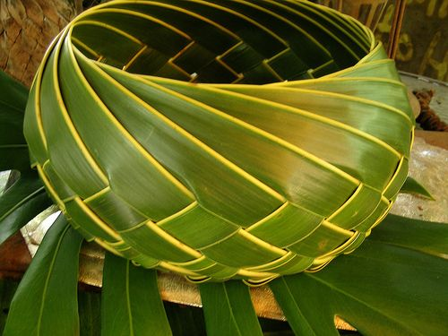 Palm weaving basket... how beautiful is this! i need to learn how!:
