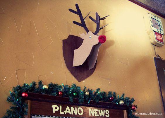 cardboard box reindeer mount