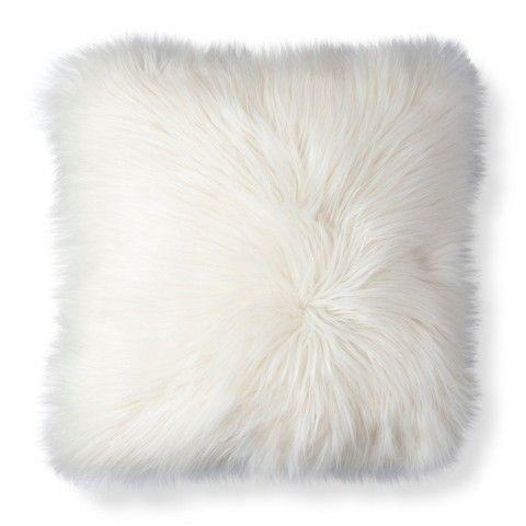 Target Threshold White Fur Decorative Pillow…