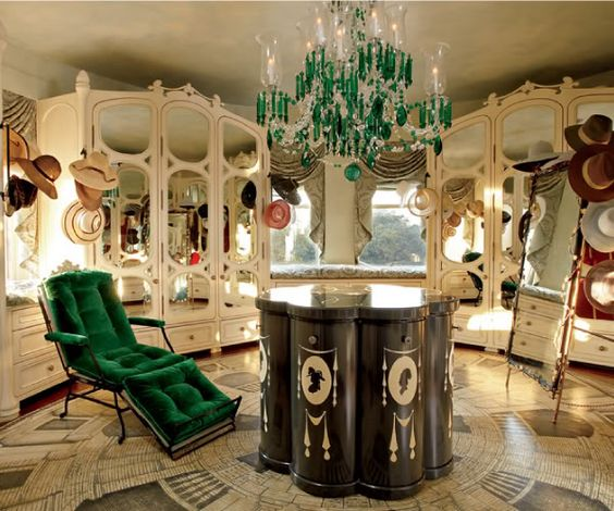 Architectural Digest: Closets and dressing rooms #armoire #chandelier #closet #dressing_room #green #hats #mirror