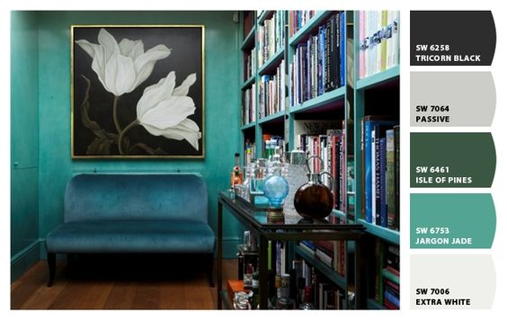 teal walls. Paint colors from Chip It! by Sherwin-Williams