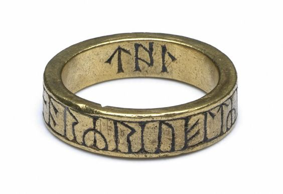 8thC-10thC runed ring. The inscription does not form words, most likely a magical inscription. (Europe,United Kingdom,England,Cumbria,Kingmoor,Greymoorhill)