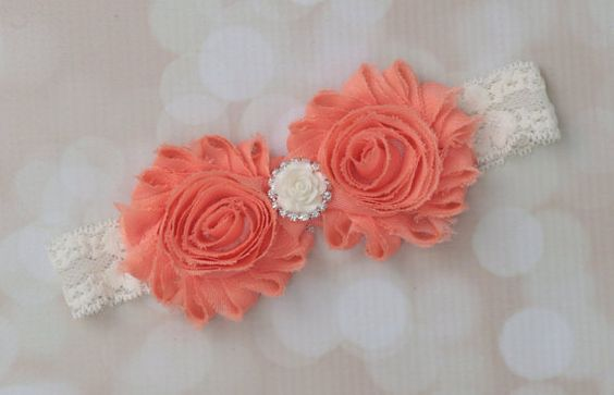 Peach and lace shabby flower headband with an by LilMissSweetPea