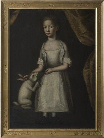 Girl in White with Rabbit, European School, 18th C