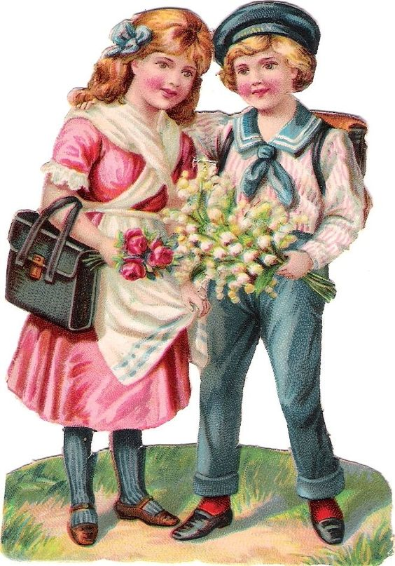 Oblaten Glanzbild scrap die cut chromo Kind  12cm child girl couple Paar Schule: