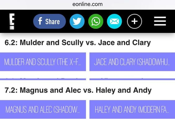 """Round 1 - VOTE for #malec and #clace  Link - http://m.eonline.com/news/755610/tv-s-top-couple-2016-vote-in-round-1-now (Link in Bio)  #MagnusBane…"""