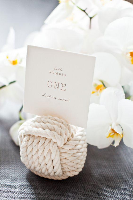 Monkey's fist table numbers | Photography: Kate Webber - katewebber.com  Read More: http://www.stylemepretty.com/california-weddings/2014/04/23/elegant-durham-ranch-wedding/