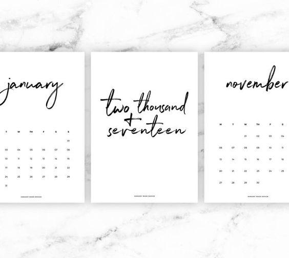 2017 Wall Calendar Black 2017 Calendar, Printable Calendar, 2017 - printable 2017 calendar