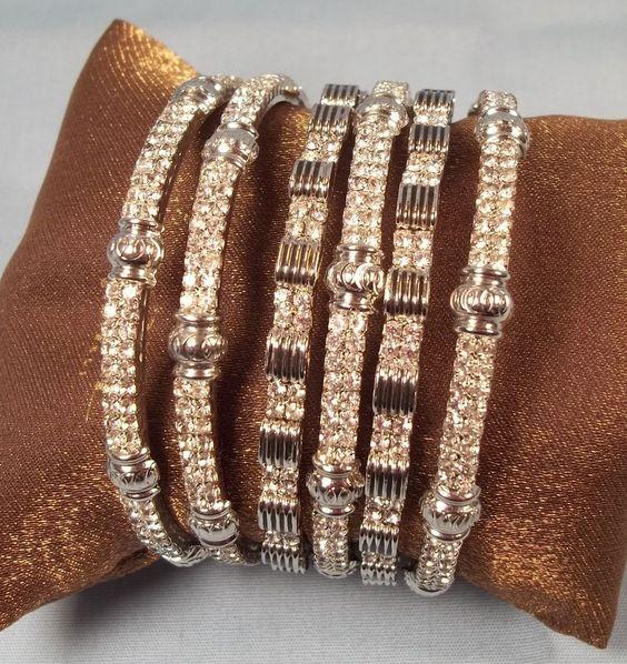 Rhinestones Bangle Bracelet Set of 6 WELL MADE Prong Setting Silver Tone #Bangle