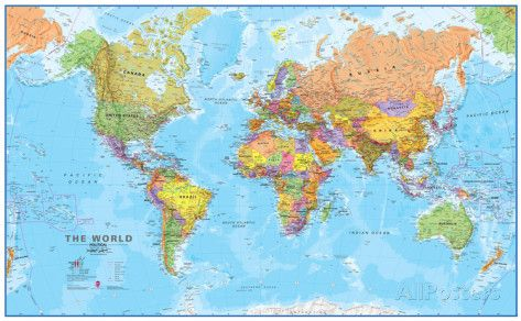 World MegaMap 1:20 Wall Map, Laminated Educational Poster Poster bei AllPosters.de