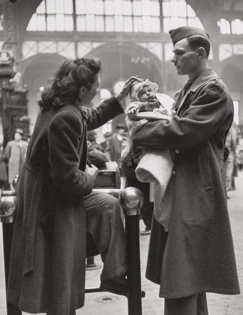 oldnewyorklandia:  Alfred Eisenstaedt (American, 1898-1995)A Soldier's Farewell, Penn Station, New York City, 1944