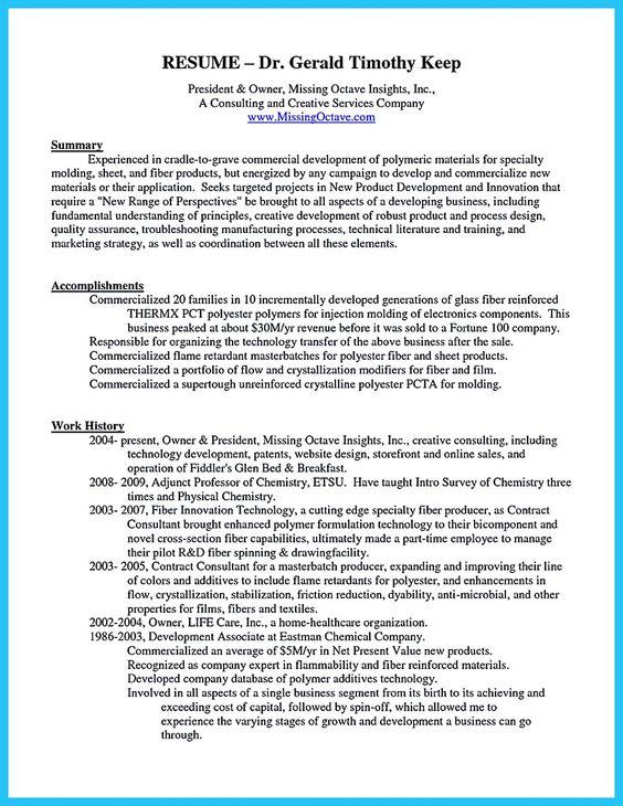 resume of owner