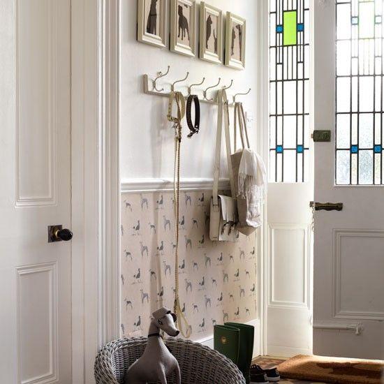 Dog themed hallway entry hallway dado rail and entrance for Hallway wallpaper ideas