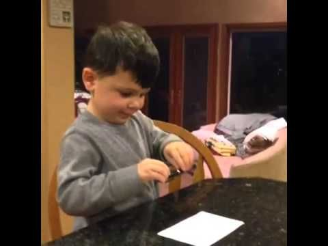Prank exploding pen on 3 year old...and then what he says afterwards...