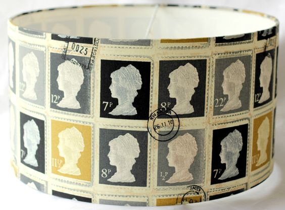 Perfect for my home office - lampshade drum shade in Postage Stamp Fabric - etsy
