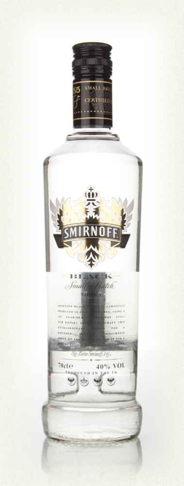 Smirnoff Black - Smirnoff Black is a special vodka made in copper pot stills, distilled from Russian grains, and filtered through silver birch charcoal. Very smooth and supple.