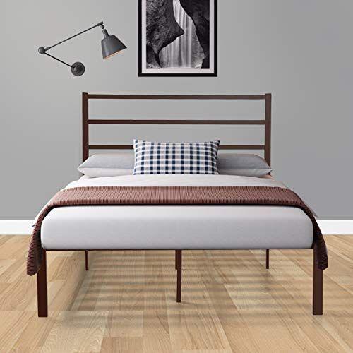 Sandinrayli Coffee Metal Platform Bed Frame With Wooden Slats