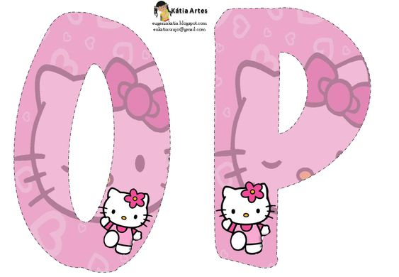 Alfabeto de Hello Kitty en fondo rosa. | Oh my Alfabetos!