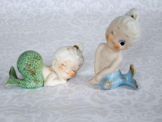 Vintage Mermaid Figurines - Vintage Ceramic Pixie Mermaids - Beach Decor for the Holidays or Gift Ideas by SwirlingOrange11 on Etsy https://www.etsy.com/listing/209750415/vintage-mermaid-figurines-vintage