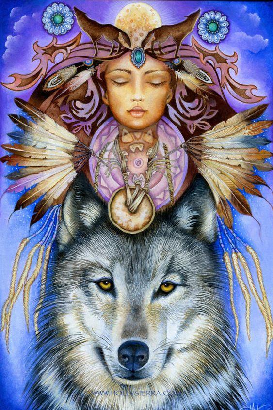 Lobo espíritu una tarjeta de felicitación de Bellas Artes