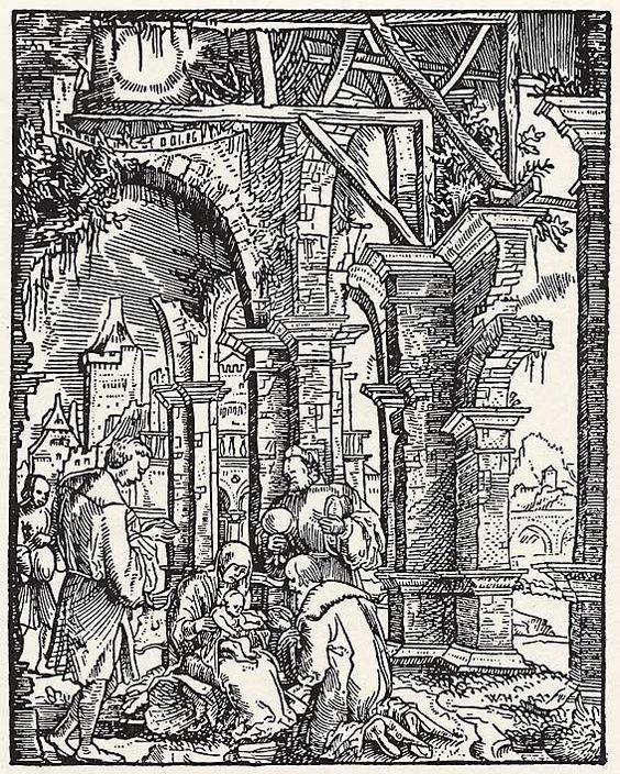 Artist: Huber, Wolfgang, Title: »Kindheitsgeschichte Christi«, Anbetung der drei Heiligen Könige, Date: ca. 1530