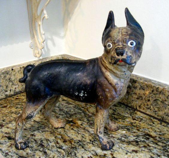Antique Cast Iron Boston Terrier Door Stop Best 2000 - Antique Cast Iron Boston Terrier Door Stop - Best 2000+ Antique