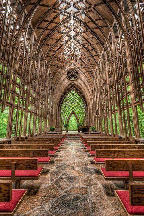 Glass chapel in the woods in Eureka Springs Arkansas